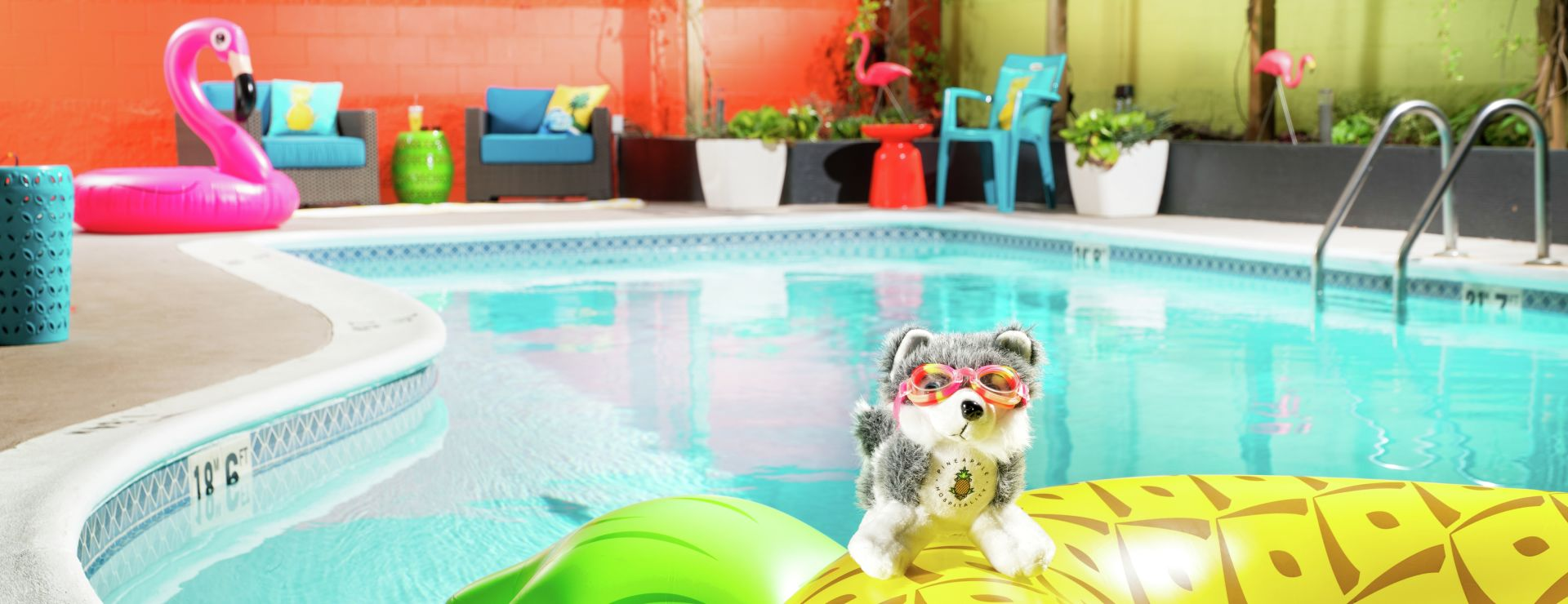 Dash doll with swimming goggles on pineapple pool floaty in pool