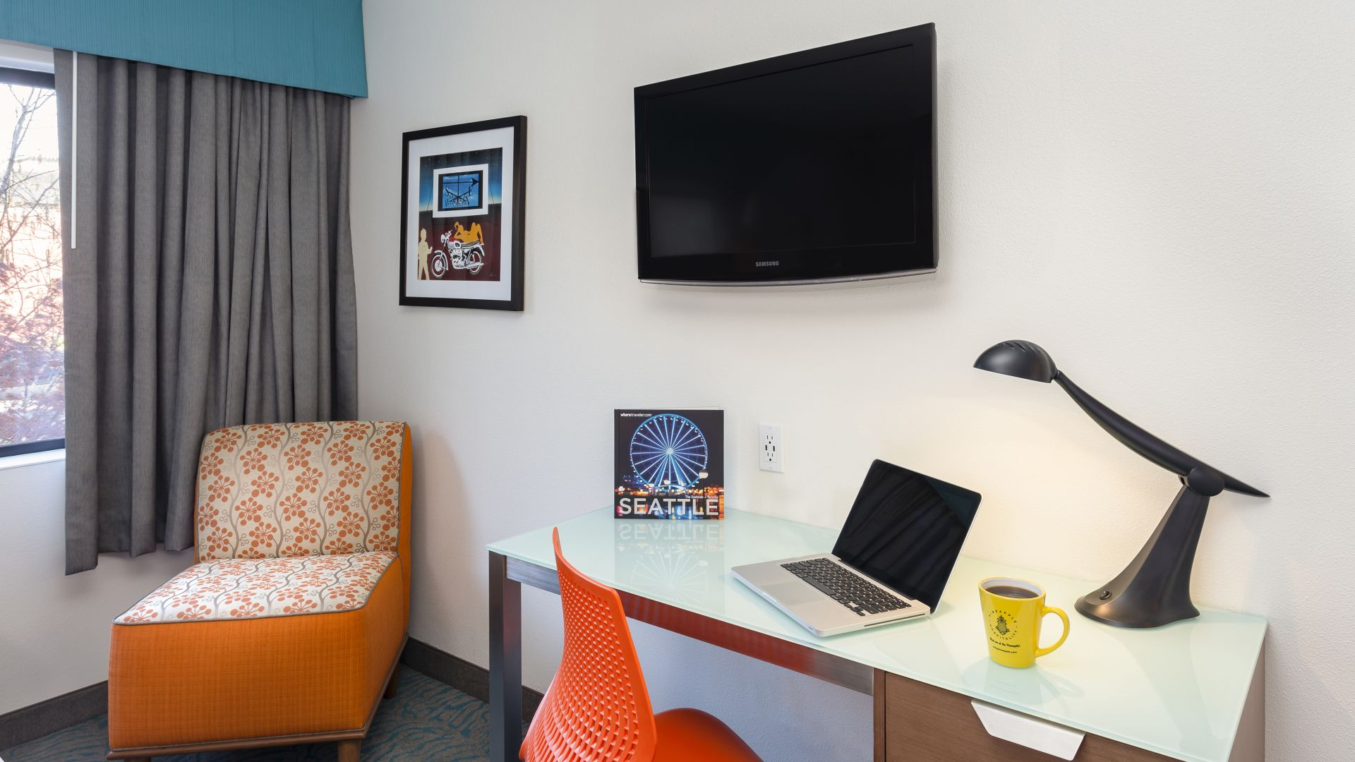 Work desk and tv area of the Traditional Two Queen guestroom