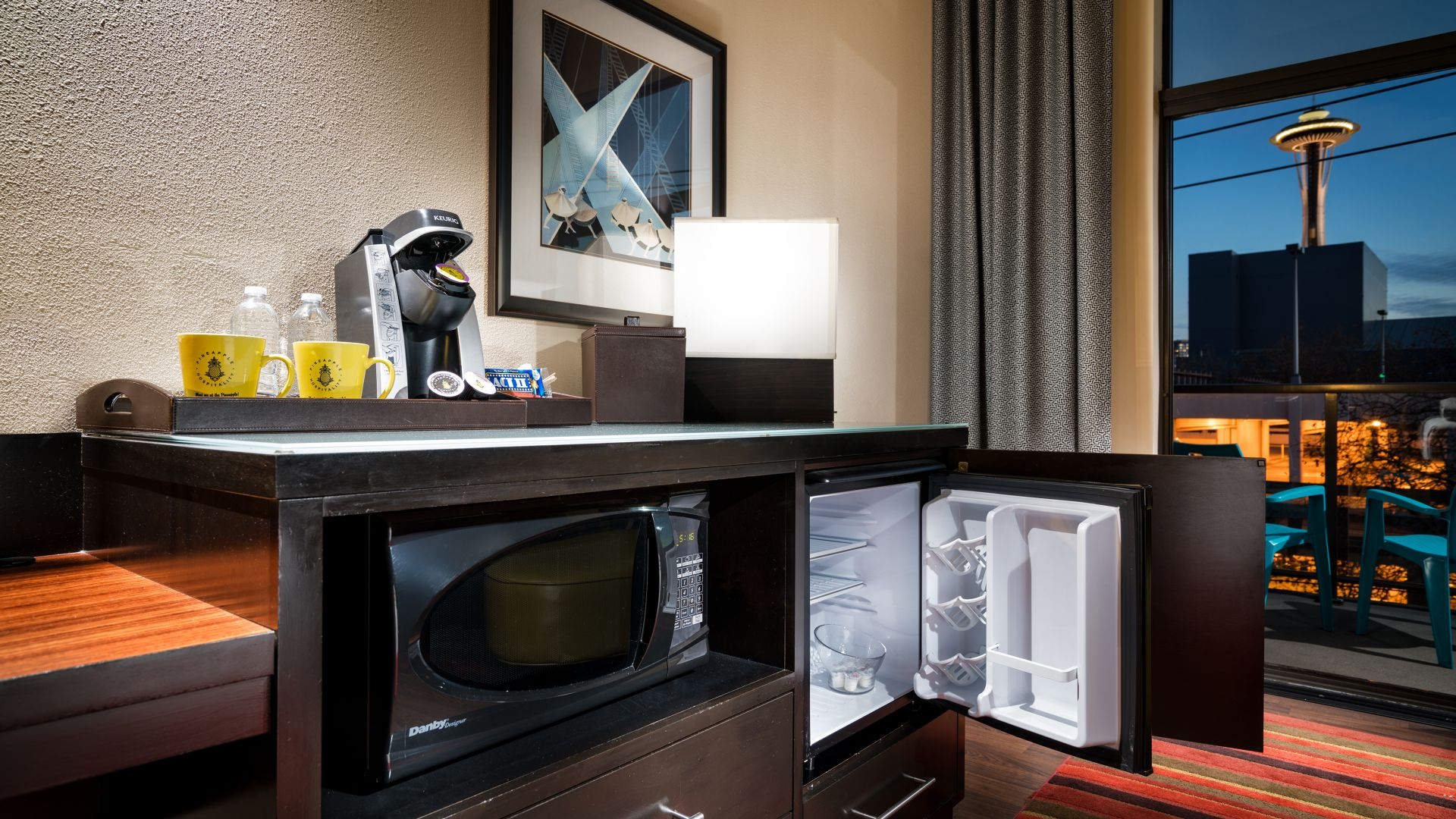 Coffee maker, microwave, and mini-fridge area in the Diva's Dressing Room guestroom