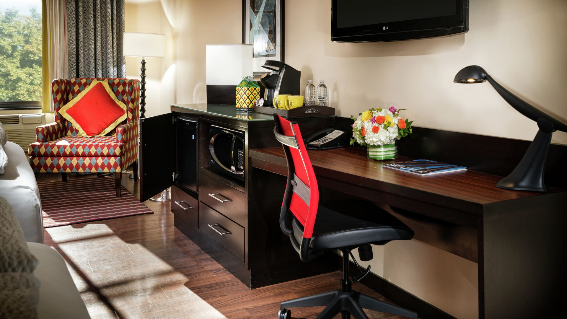 Work desk area in the Maxwell Ensemble Suite guestroom