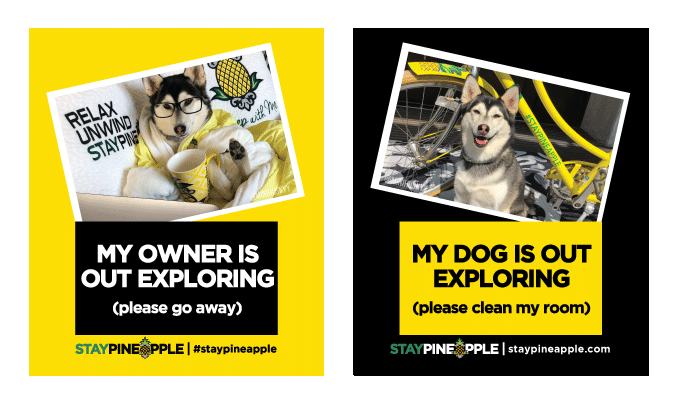 Door hangers for use when traveling with your dog