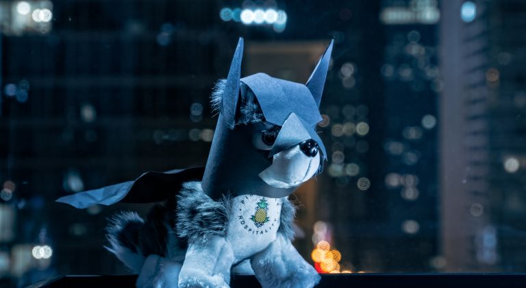Dash dressed up as Batman